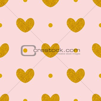 Tile vector pattern with golden hearts