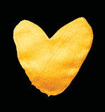 Vector shining gold heart. Watercolor texture brush strokes isolated on black. Abstract hand painted golden background.