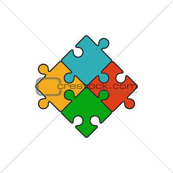 Four piece puzzle flat line icon