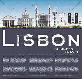 Lisbon Skyline with Gray Buildings, Blue Sky and Copy Space.