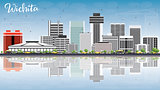 Wichita Skyline with Gray Buildings, Blue Sky and Reflections.