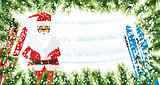 Santa Claus. Christmas background with fir branches, snow and sk