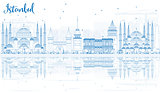 Outline Istanbul Skyline with Blue Landmarks and Reflections.