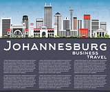 Johannesburg Skyline with Gray Buildings, Blue Sky and Copy Spac