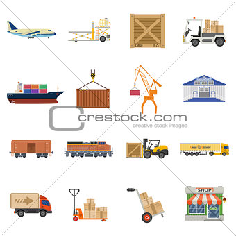 Cargo Transport and logistics Icon Set