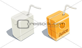 Cardboard pack with tube blank and for orange juice