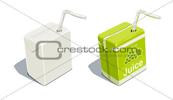 Cardboard pack with tube blank and for grapes juice