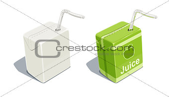 Cardboard pack with tube blank and for apple juice