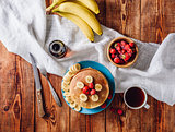 Homemade Pancakes with Fruits.