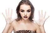 Beauty woman girl natural makeup through wet glass