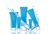 Blue skin care cream containers with water splash