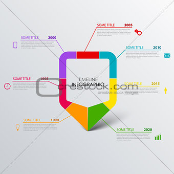 Time line info graphic with design colored pointer template