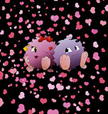 couple cartoon monster black background heart