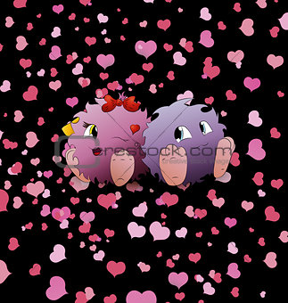 couple cartoon monster black background heart