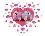couple cartoon monster big heart beige background