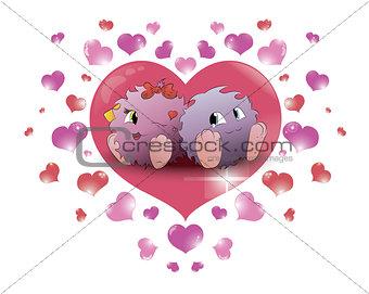 couple cartoon monster big heart beige background