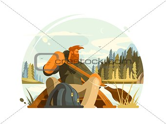 Bearded man in canoe