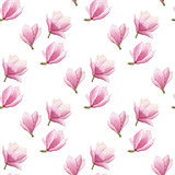 watercolor magnolia seamless pattern isolated on white background. spring blooming pattern design.