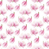 watercolor blooming magnolia pattern isolated on white background. seamless spring design.