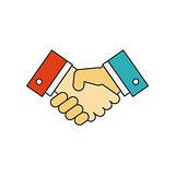 Handshake flat line icon