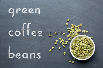 green coffee beans on blackboard