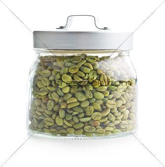 green coffee beans in jar