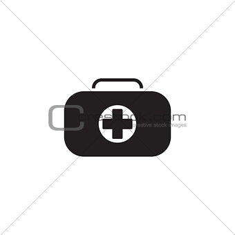 First Aid Kit Symbol and Medical Services Icon. Flat Design.