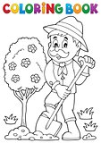 Coloring book gardener planting tree