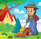 Gardener with lawn mower theme image 2