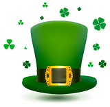 Green top cylinder hat with gold buckle. Luck leaf clover symbol Patricks Day