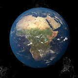 The Earth from space showing Africa 3d render illustration. Other orientations available.