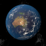 The Earth from space showing Australia and Indonesia. Other orientations available.