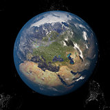 The Earth from space showing Europe and Africa. Other orientations available.