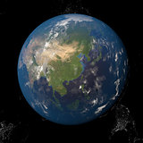 Asia seen from space 3d illustration