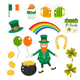 St. Patrick holiday vector illustration set.