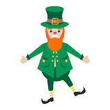 Irish St. Patrick leprechaun character vector illustration.