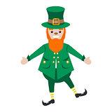 Irish St. Patrick leprechaun character vector illustration.