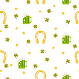 Irish St. Patrick celebration party seamless pattern.