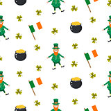 Ireland Saint Patrick vector seamless pattern.