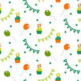 Irish celebration party seamless vector pattern.