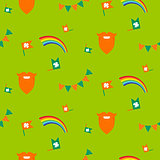 Red beard, rainbow and bunting seamless pattern.