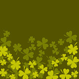Clover shamrock dark green card background.