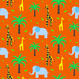 Savannah animals child cute seamless pattern vector.