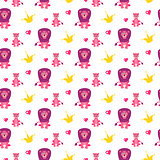 Cute lion and lioness seamless vector pattern.
