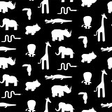 Black and white animal silhouettes seamless pattern vector.