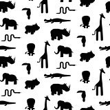 Zoo animal silhouettes seamless pattern vector.
