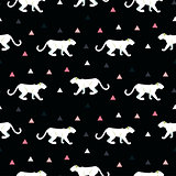 Silhouette of cougar seamless black pattern.