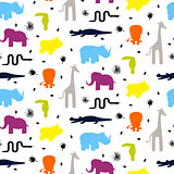 Colorful zoo animal silhouettes baby seamless vector pattern.