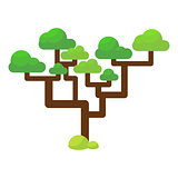 Green savannah tree flat vector illustration.