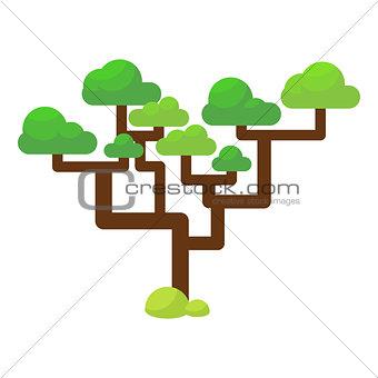 Green savannah tree flat vector illustration.